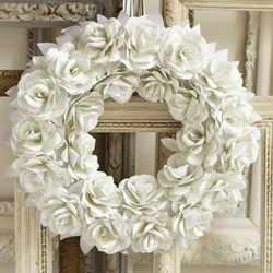 diy paper rose wreath wedding decor | weddinggawker